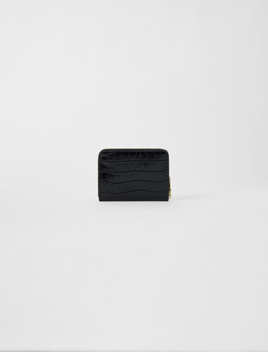 Crocodile-effect embossed leather wallet : Small leather goods color Black