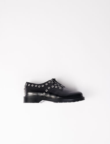 Smooth leather derbies with eyelets : Boots & Flat shoes color Black