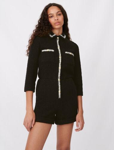 Tweed-style playsuit : Jumpshort & Jumpsuits color Black