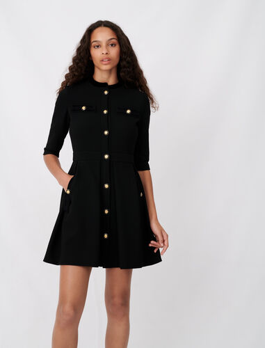 Skater dress with fancy buttons : Dresses color Black