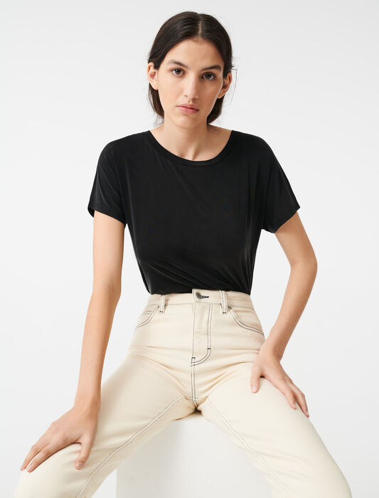 Cupro T-shirt with open back : T-Shirts color Black