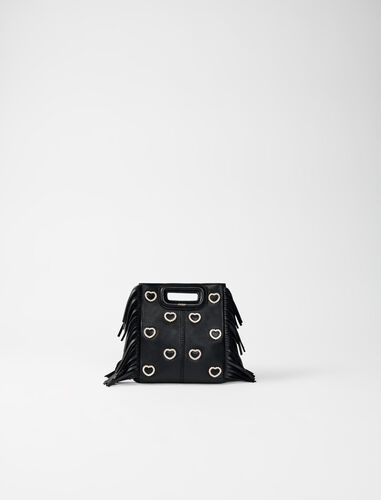 Leather mini M bag, diamanté and chain : NEW IN color Black