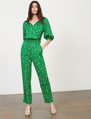 Printed satin jumpsuit : Jumpshort & Jumpsuits color Green/White