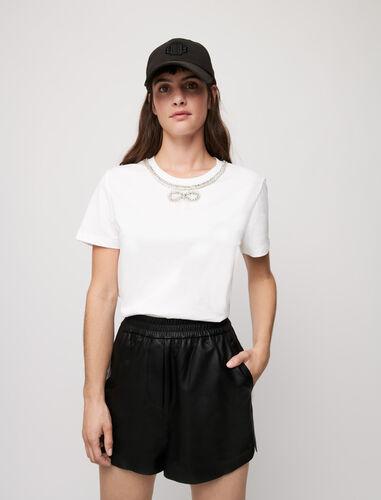 水钻领T恤 : T-Shirts 顏色 白色/WHITE