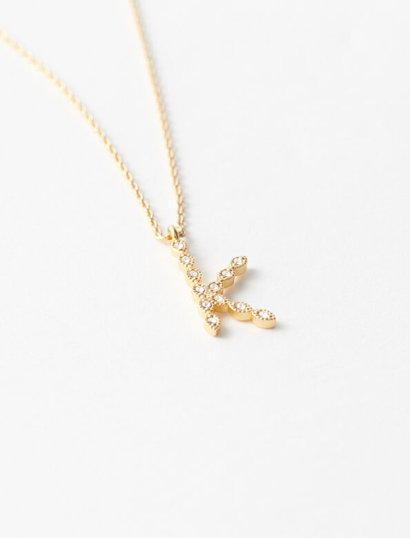 Rhinestone K necklace : Jewelry color Gold