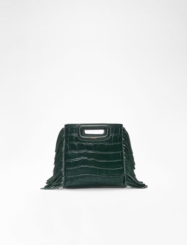 Mini embossed-leather M bag with chain : M Bag color Black