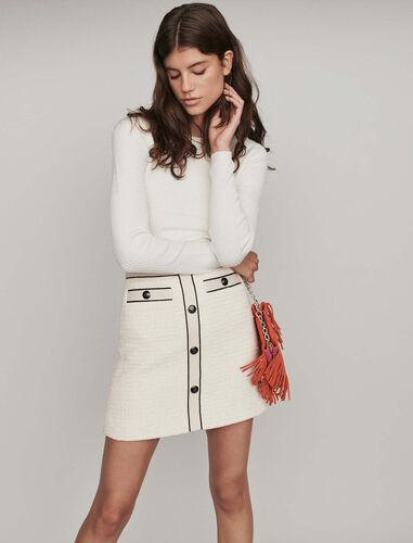 Tweed-style contrast pencil skirt : Skirts color Ecru