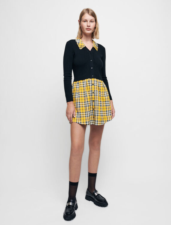学院风拼接格纹连衣裙 - Dresses - MAJE