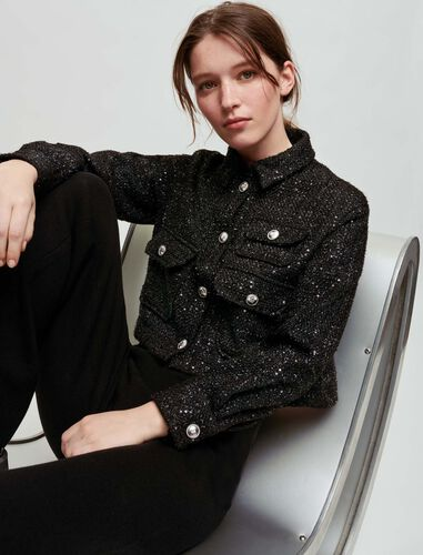 Sequinned tweed-style cropped shirt : Tops color Black