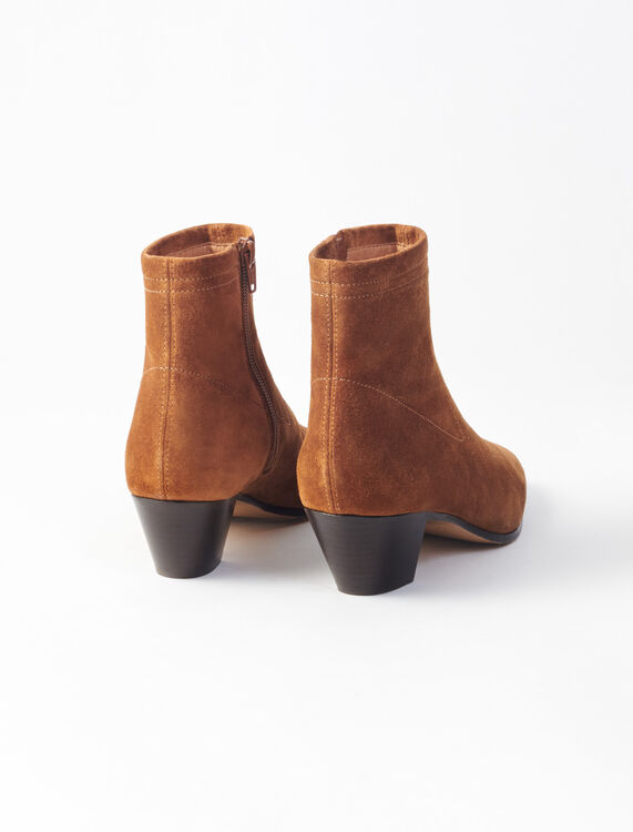 Leather sock boots : Boots & Flat shoes color Camel