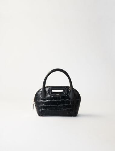 Small crocodile-effect leather bag : Shoulder bags color Fuchsia