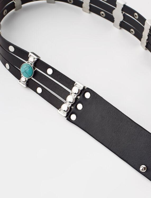 Studded belt with turquoise stones - Belts - MAJE