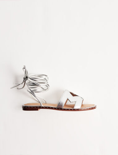 Leather tie sandals : Boots & Flat shoes color Silver