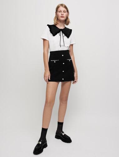 Embroidered poplin knit skirt : Skirts color Black