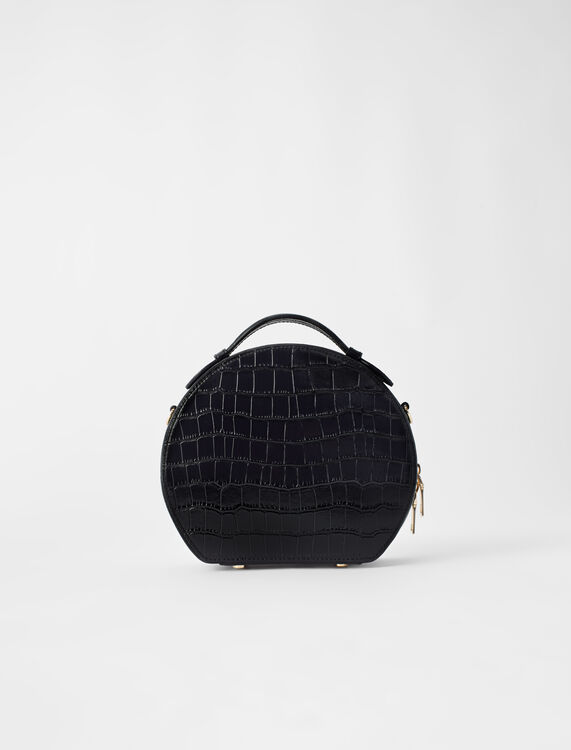 Hatbox bag in embossed leather : Shoulder bags color Black