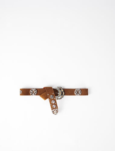 金属装饰皮革腰带 : null 顏色 棕褐色/TOBACCO