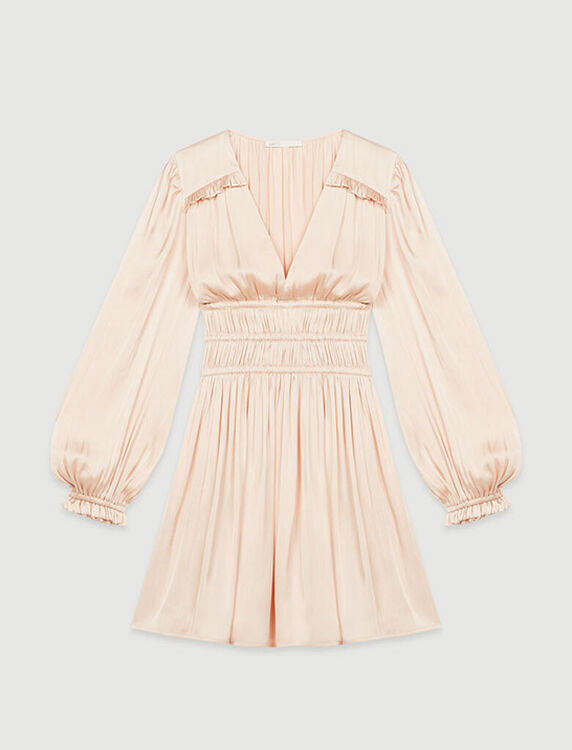 Satin dress with ruffles - Dresses - MAJE