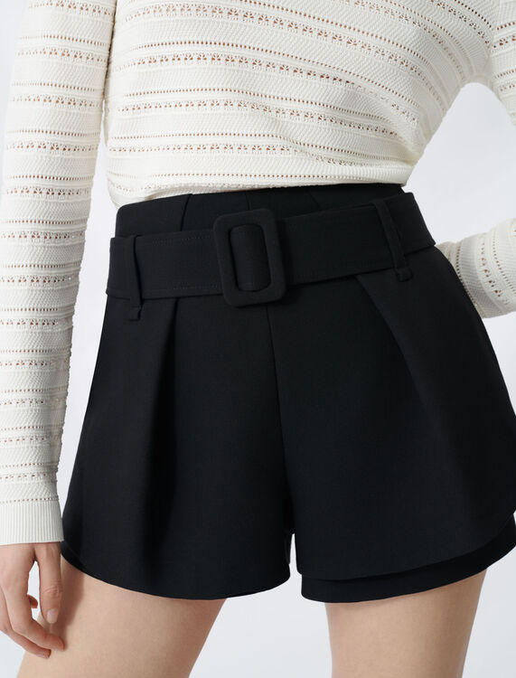 Pleated trompe-l'oeil short : Shorts color Black