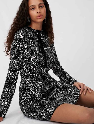 Printed jacquard and lace dress : Dresses color Stars black white