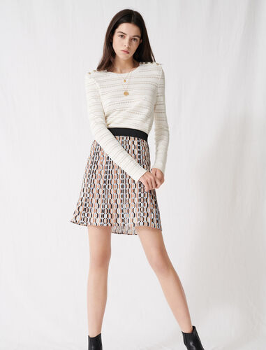 Pleated mini skirt with graphic print : Skirts color Blue Sky