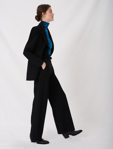 WIDE LEG PANTS WITH BELT : Trousers color Black