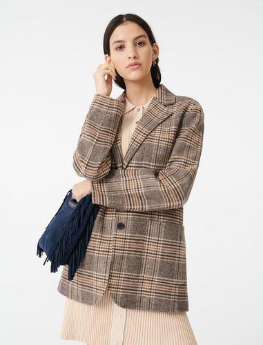 Checked jacket-style coat : Coats & Jackets color Beige