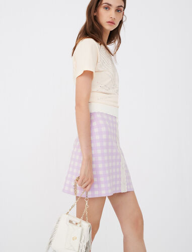 Straight skirt in checked jacquard : Skirts color Parma Violet