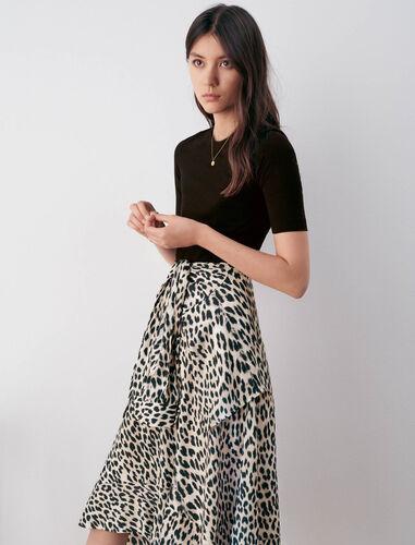 豹纹不规则连衣裙 : 连衣裙 顏色 U002