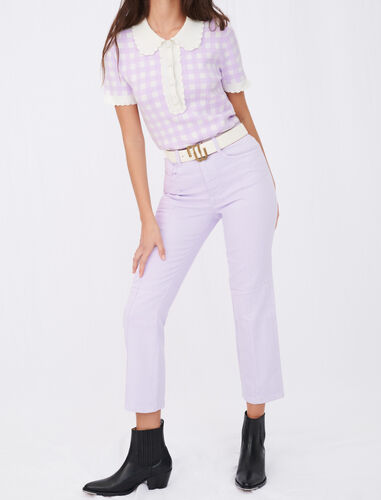 Coloured straight-cut jeans with cutouts : Jeans color Parma Violet