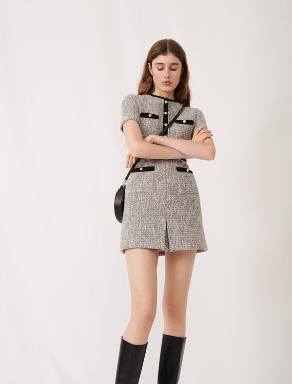 Tweed-style dress with contrast details : Dresses color Silver