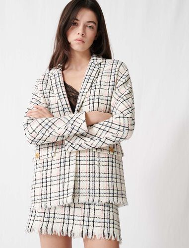 Checked tweed-style jacket : Coats & Jackets color Ecru