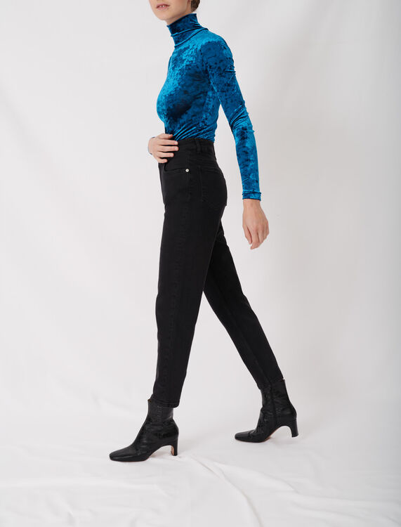 Mom-style high-waisted straight jeans : Jeans color Anthracite