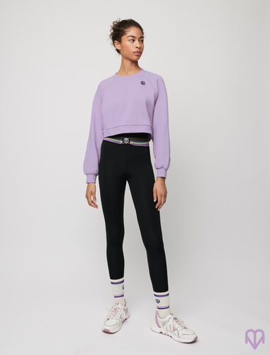 High-rise stretch sports leggings : Trousers & Jeans color Black