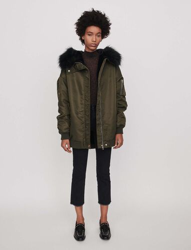 Bomber-style parka with hood : Overcoat color Khaki