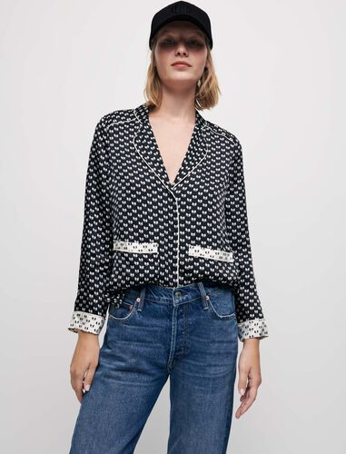蝴蝶结印花睡衣衬衫 : Shirts 顏色 黑白印花/Black Knots