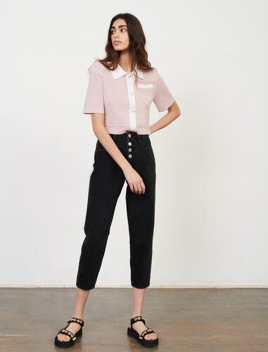 束腰七分牛仔裤 : 牛仔裤 顏色 黑色/BLACK