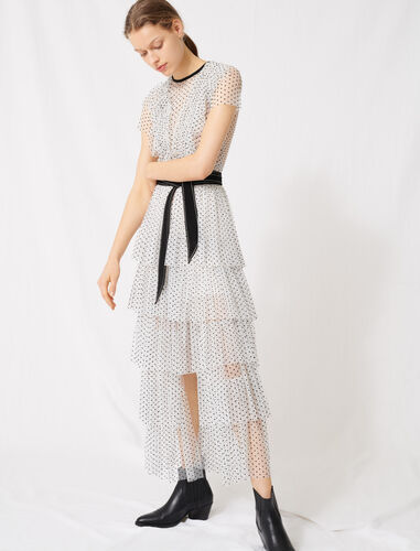 Long dress in dotted Swiss tulle : Dresses color White / Black