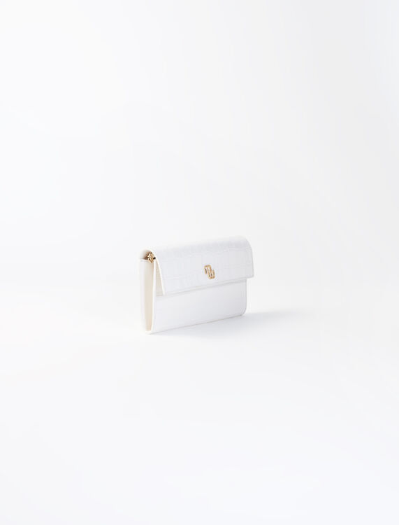Crocodile wallet with chain : Small leather goods color Ecru