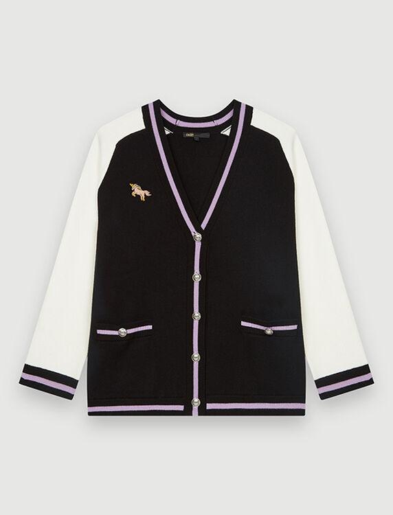 Bicolour college cardigan with patch : Cardigans color Ecru Black