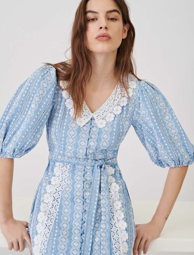 Dress with contrasting trims : Dresses color Light Blue