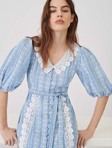 镂空蕾丝连衣裙 : 连衣裙 顏色 浅蓝色/LIGHT BLUE