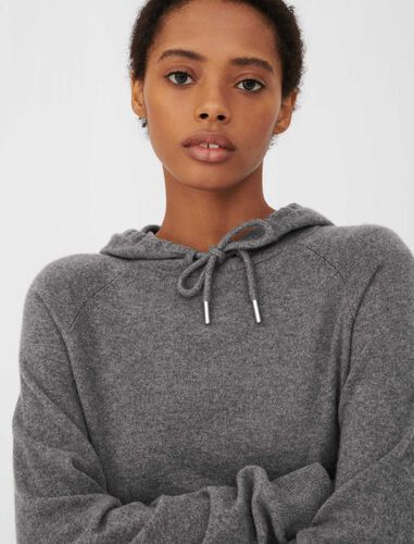 Cashmere hoodie-style sweater : Coats & Jackets color Grey