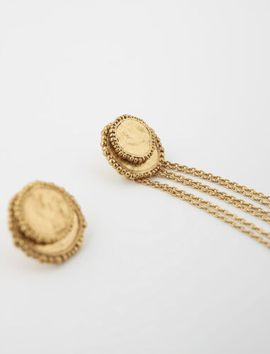 Medallion chain earrings : Other accessories color Old brass