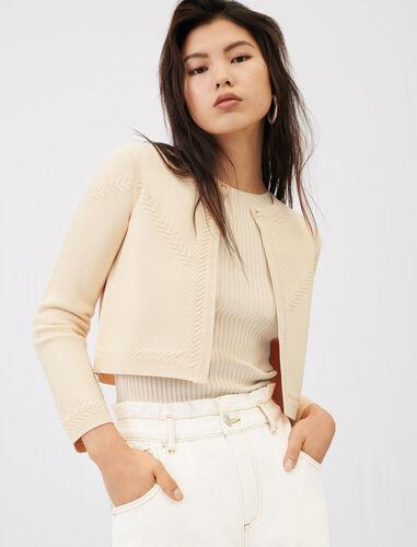 Fine jacquard cardigan : null color Beige