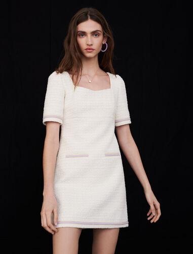 Contrast tweed dress : Dresses color Ecru
