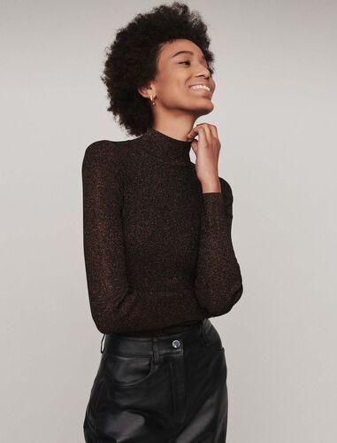 Light Lurex turtleneck sweater : Tops color Copper