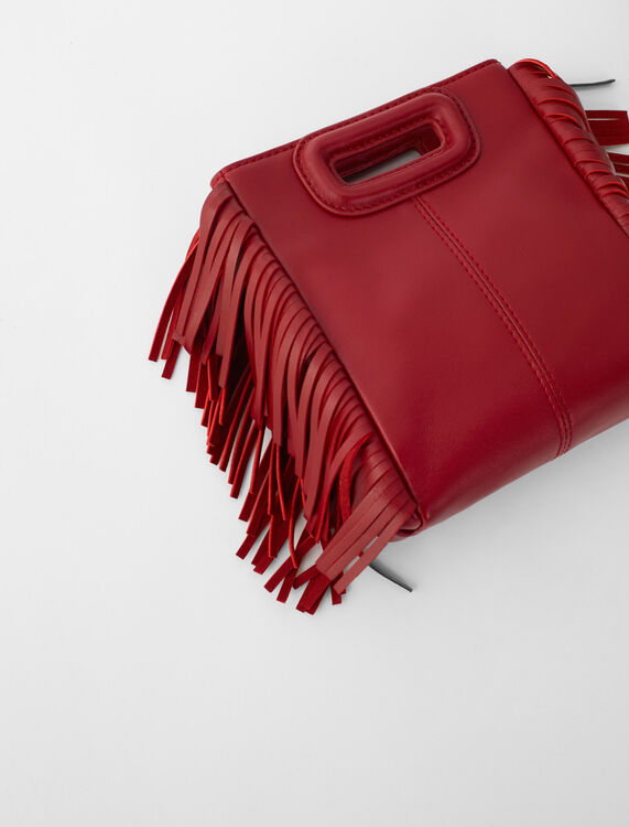 Leather Mini M bag with chain : M Bag color Carmine red