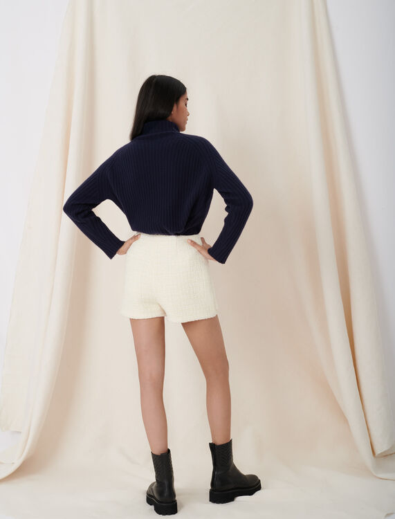 Tweed-style trompe-l'œil shorts : Shorts color Ecru