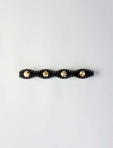 High waisted studded suede belt : Belts color Black