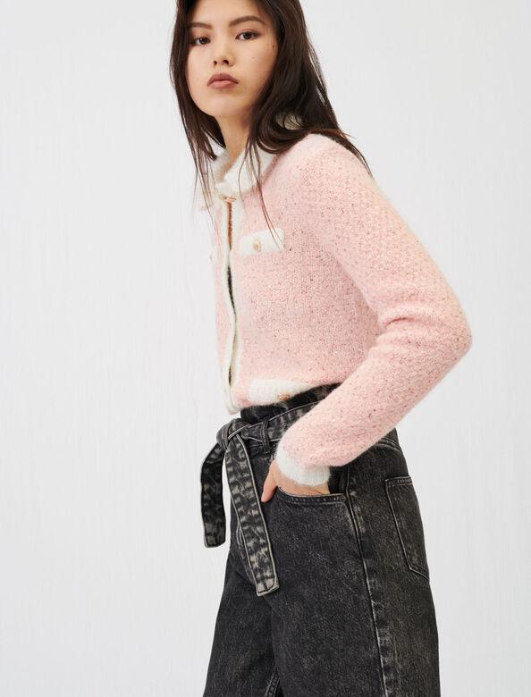 Fancy lurex knit cardigan : Cardigans color Pale Pink